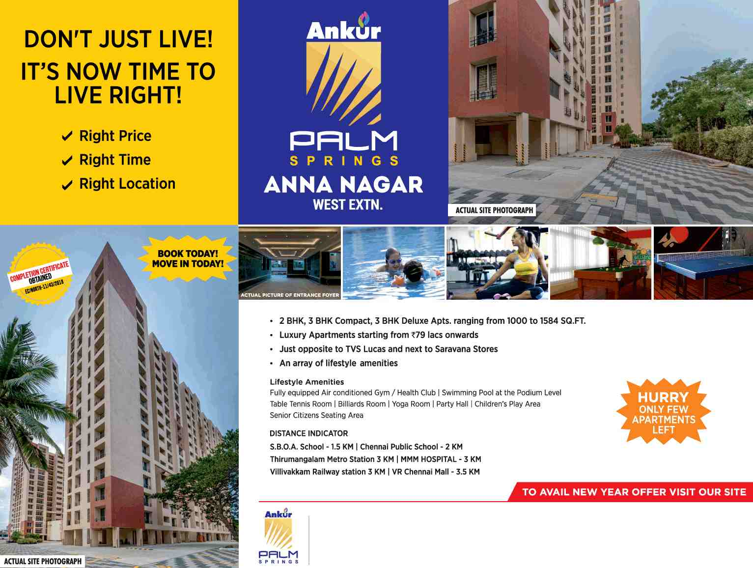Completion certificate obtained for Ankur Palm Springs in Chennai