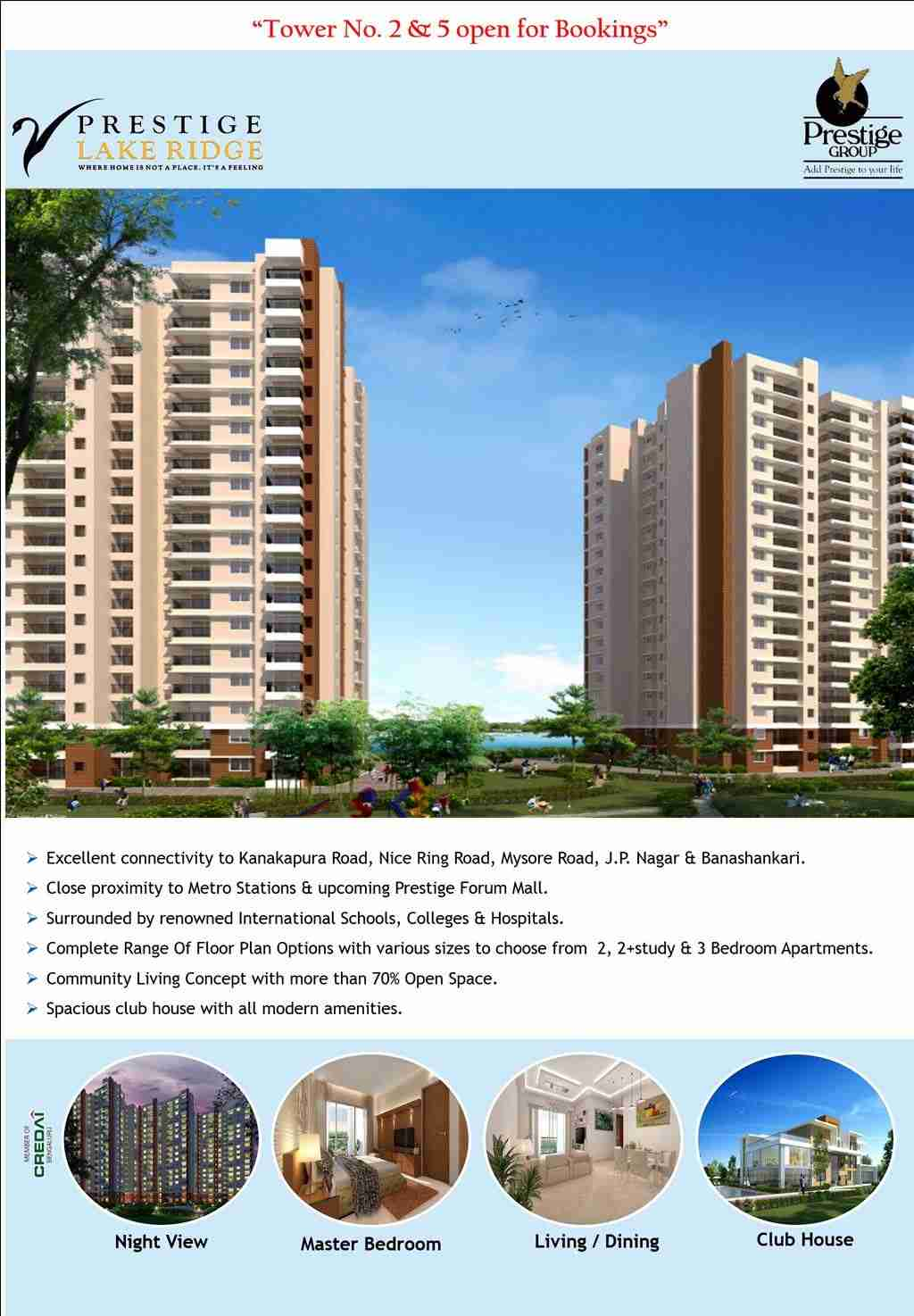 Tower No 2 and 5 open for booking at Prestige Lake Ridge in ...