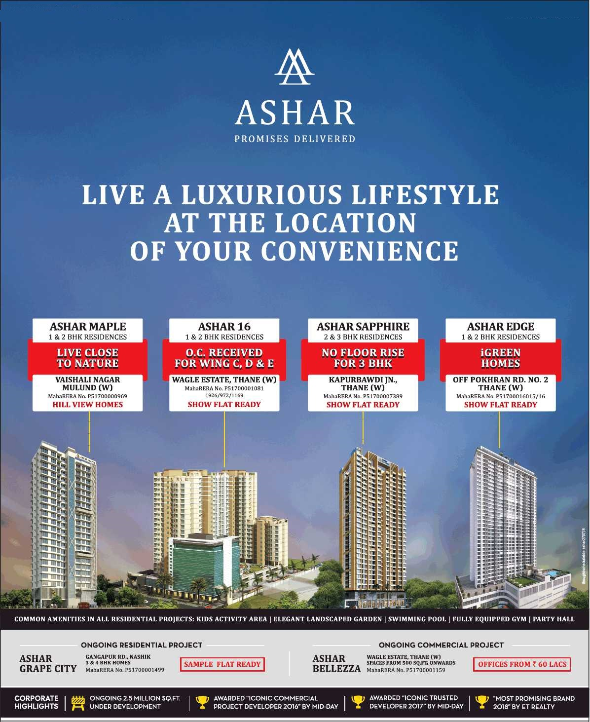 Live a luxurious lifestyle at the location of your convenience at Ashar Projects in Mumbai