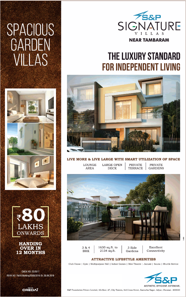 The luxury standard for independent living at S And P Signature Villas Chennai