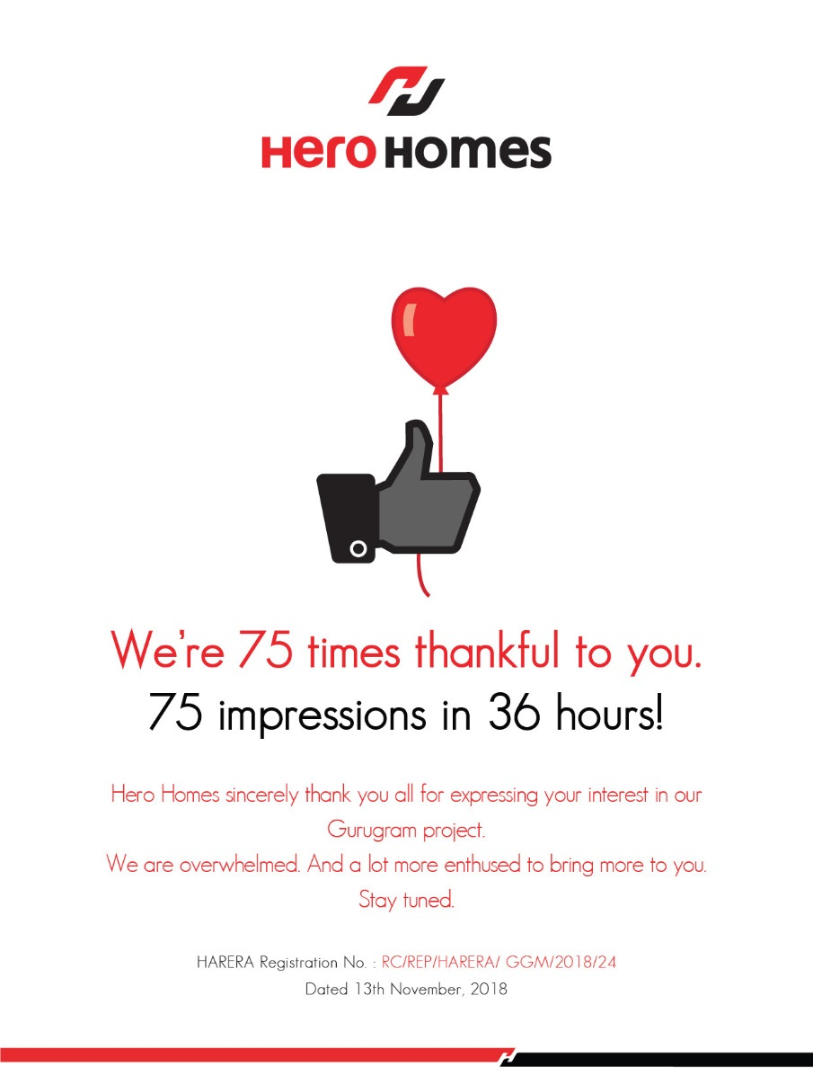 75 impressions in 36 hours at Hero Homes on Dwarka Expressway gurugram Photo