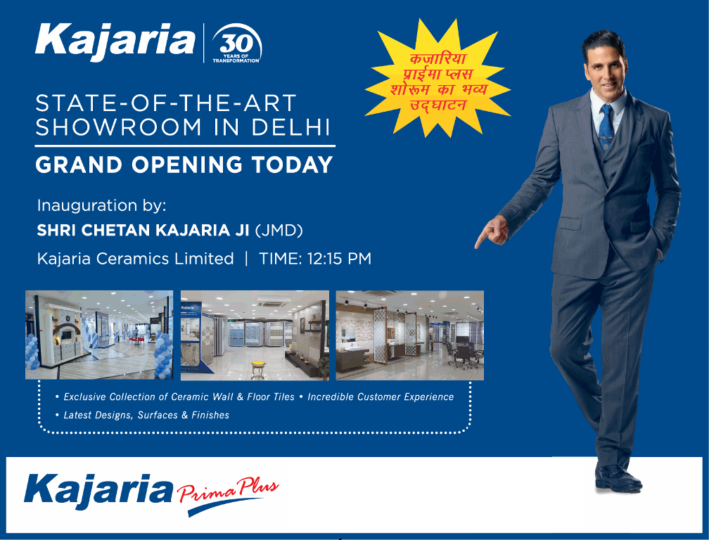 Grand opening today state of the art showroom In Delhi at Kajaria Prima Plus