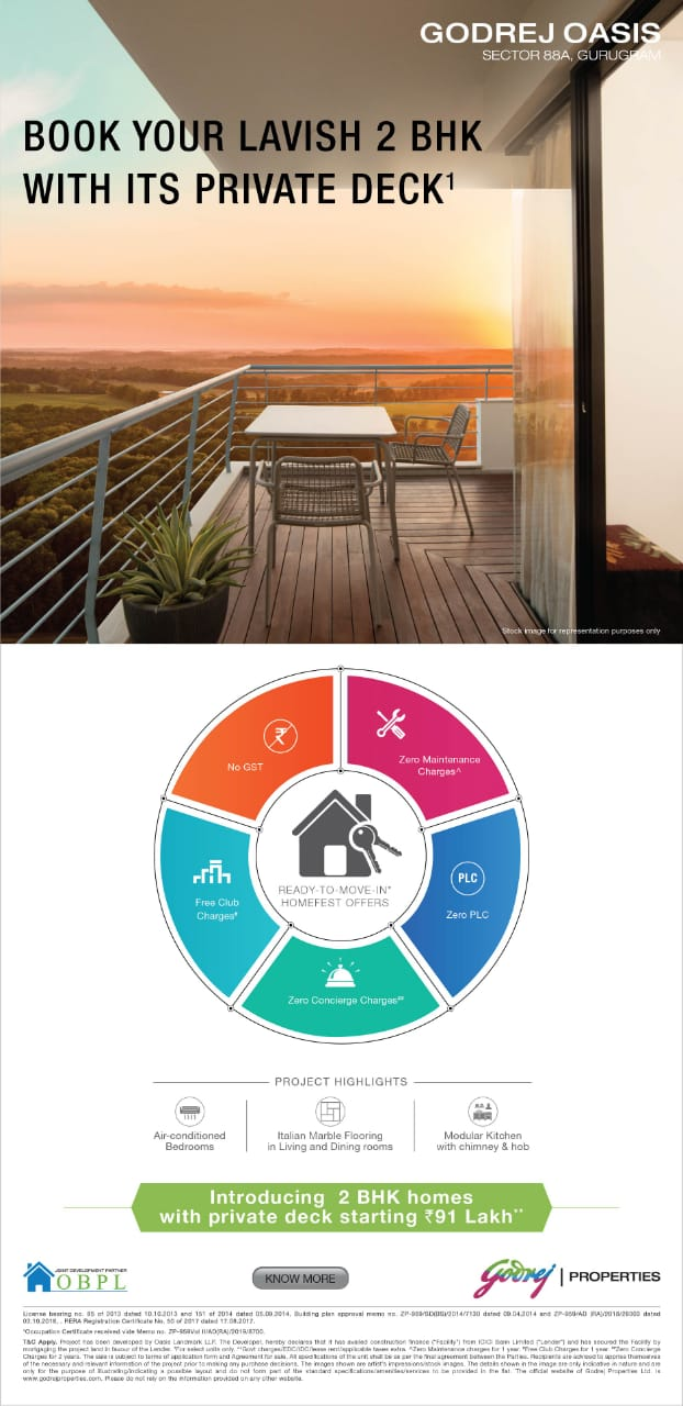 Introducing 2 BHK homes with private deck starting Rs 91 Lac at Godrej Oasis Gurgaon