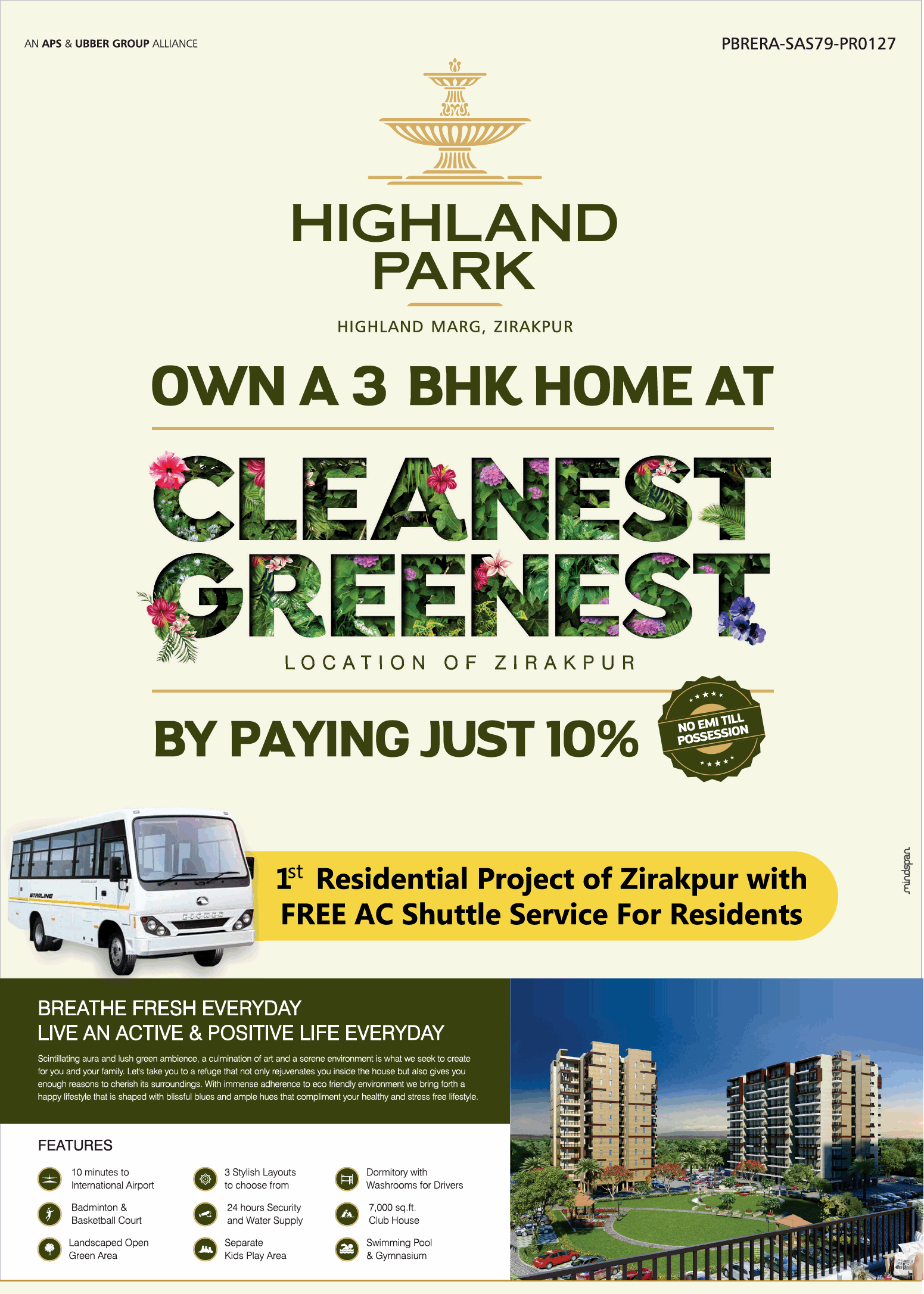 Own a 3 bhk home at cleanest greenest Highland Park in Zirakpur Chandigarh