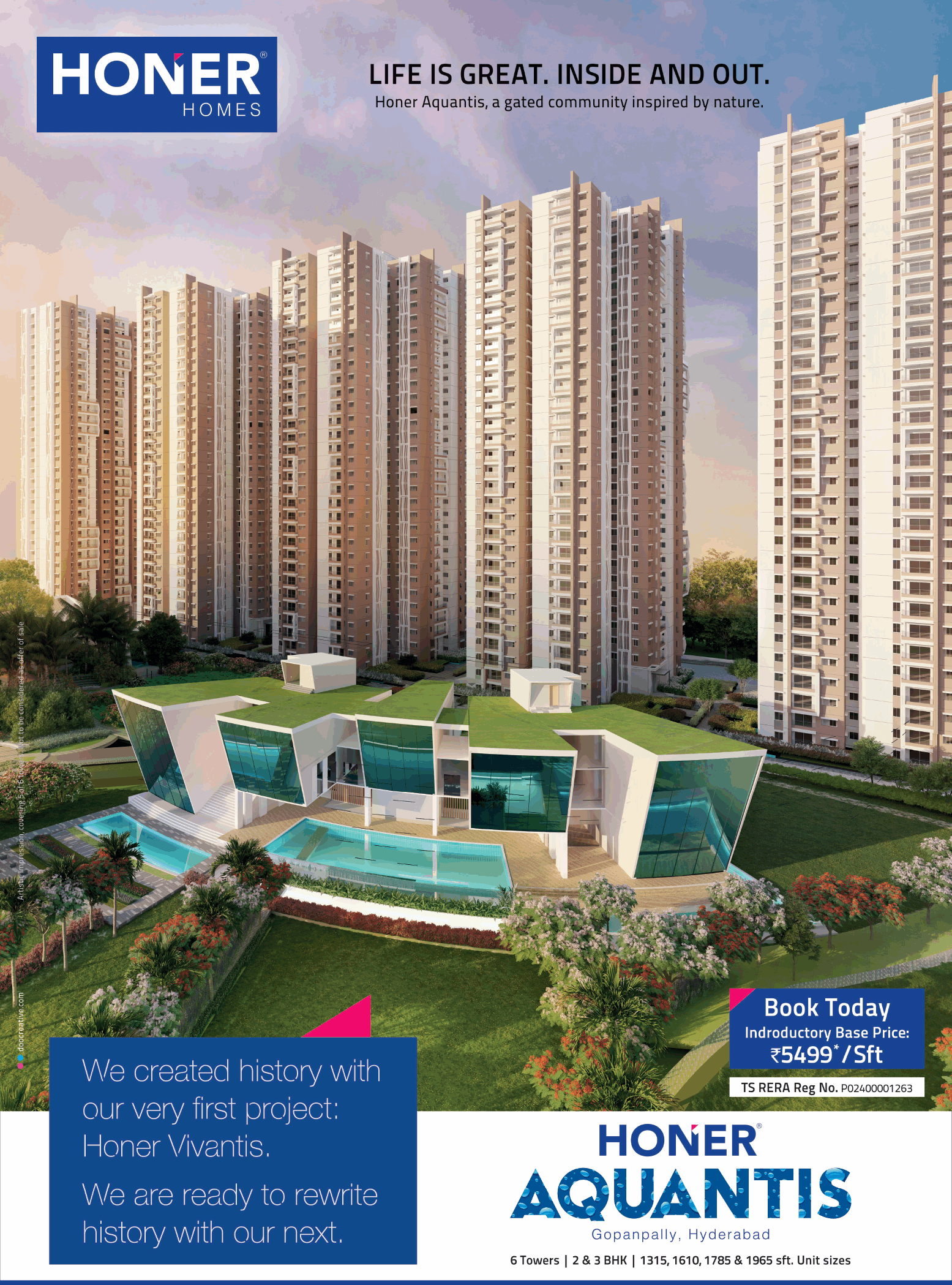 Book today indroductory base price Rs 5499 per sq ft at Honer Aquantis Hyderabad