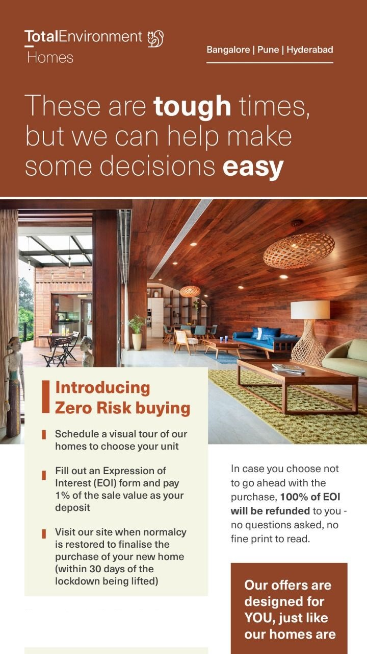 Introducing zero risk buying at Total Environment Homes in Bangalore