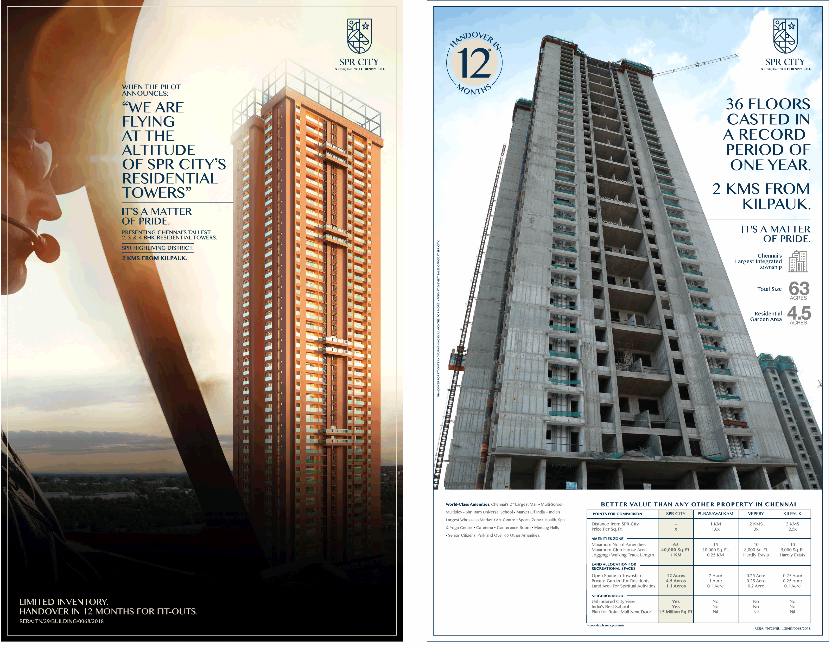 Presenting Chennai s Tallest 2 3 4 BHK Residential Towers at SPR City Highliving District