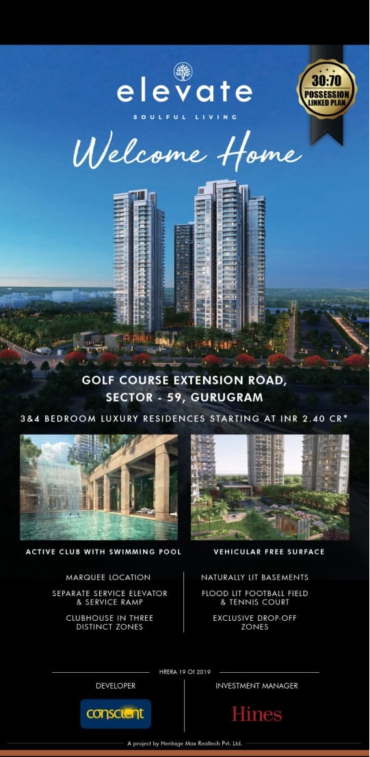 Conscient Hines Elevate 30 70 possession linked plan in Sector 59 Gurgaon