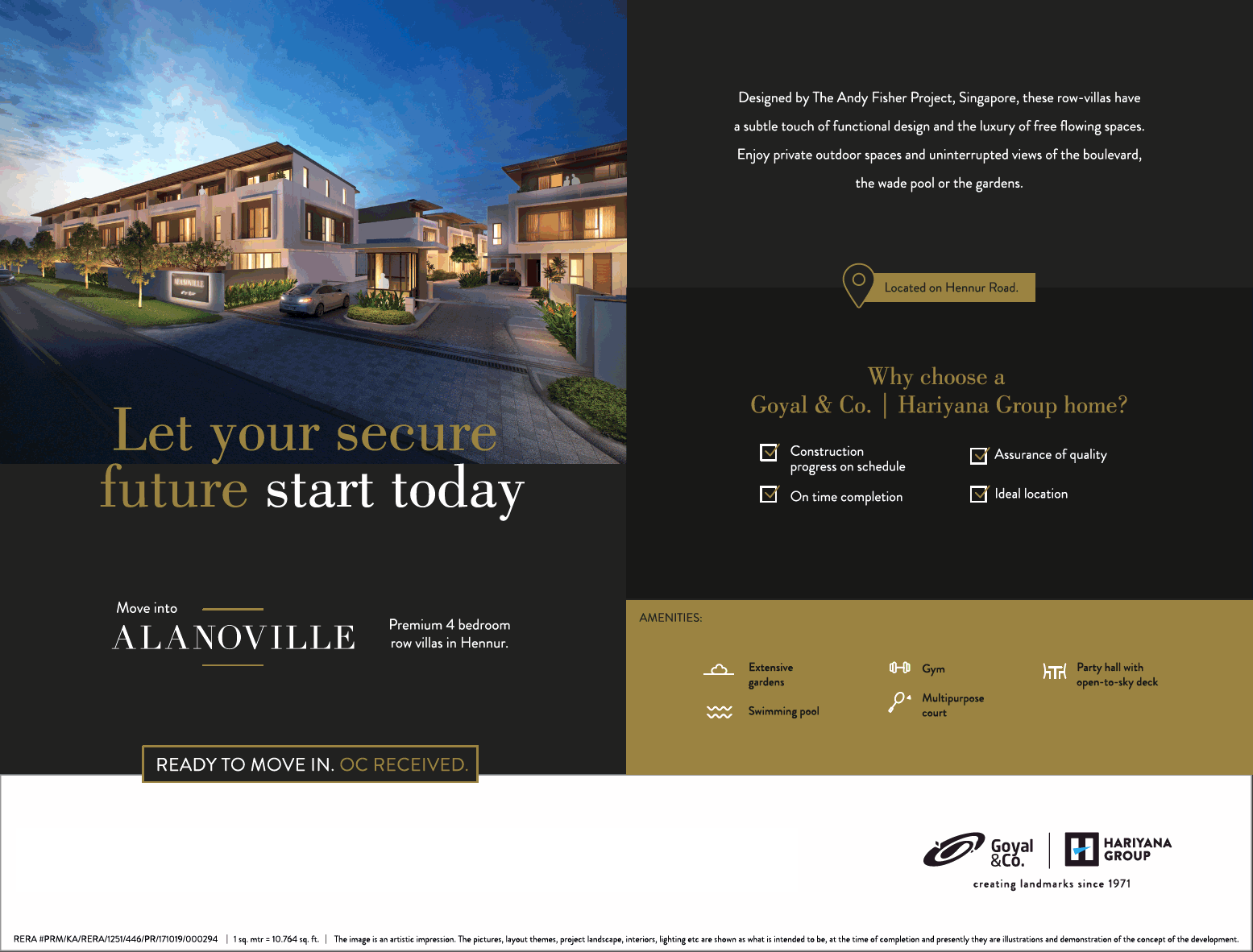 Goyal Alanoville premium 4 bedroom row villas in Hennur Bangalore