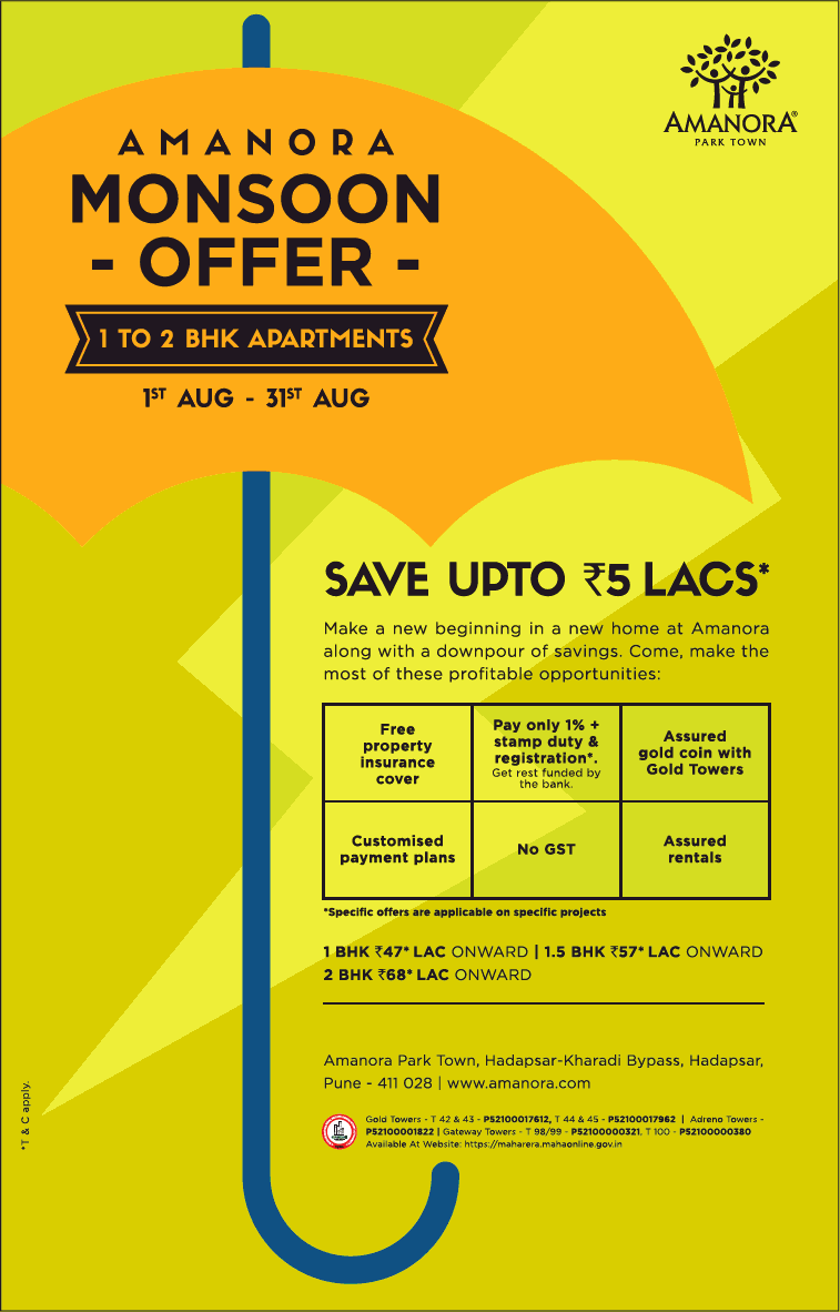 Hurry up monsoon offer save upto Rs 5 lakh at Amanora Park Town Pune