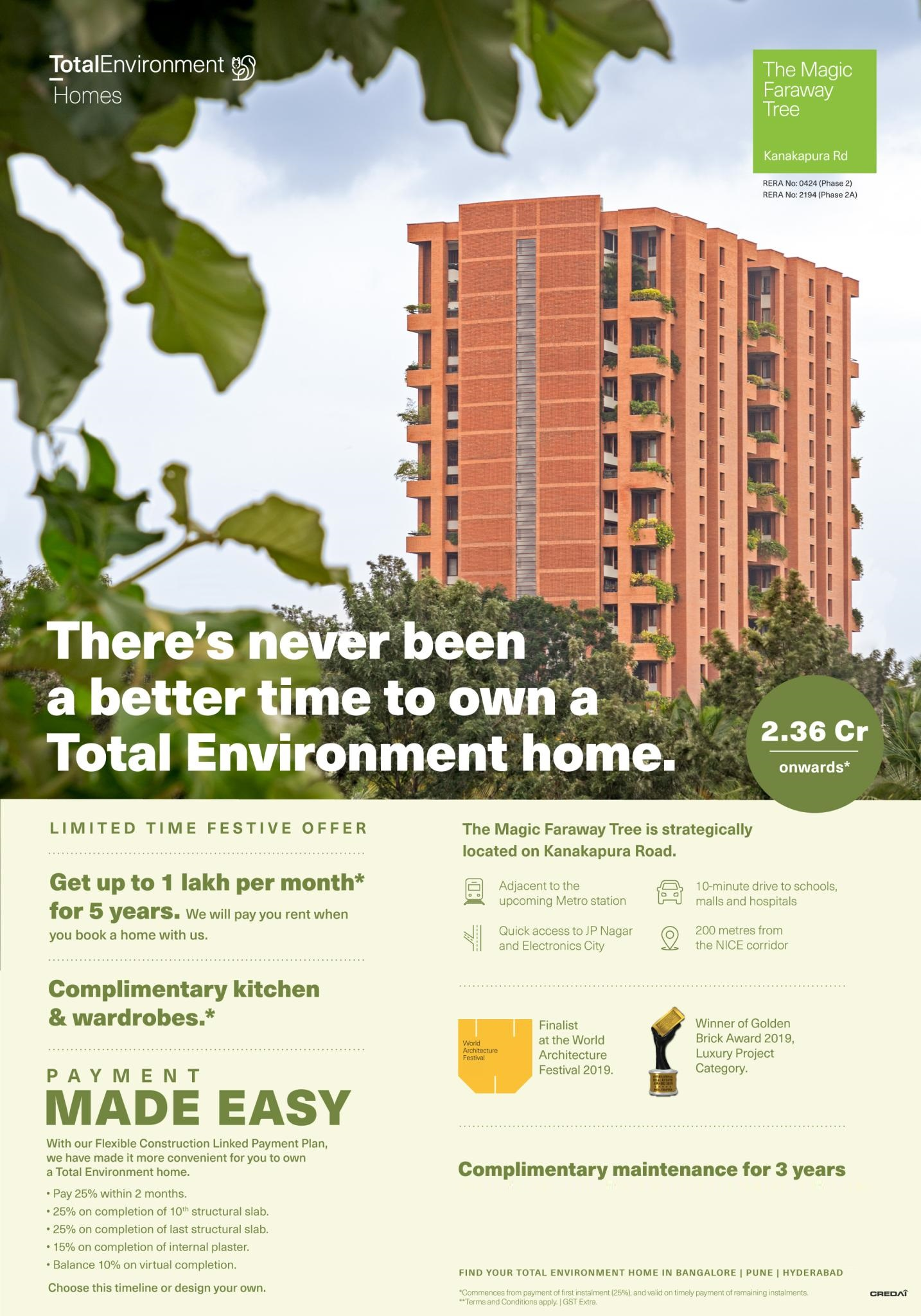 Total Environment The Magic Faraway Tree Winner of Golden Brick Award 2019 Luxury Project Category Bangalore