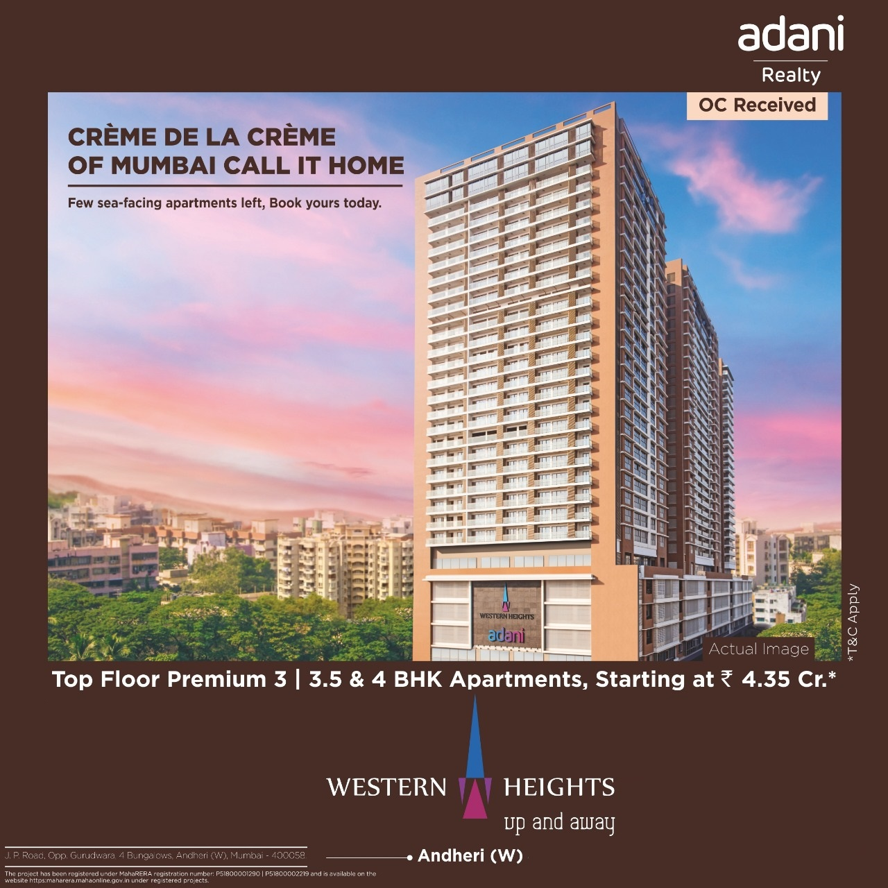 Sea facing apartments at Rs 4 35 Cr at Adani Western Heights Mumbai