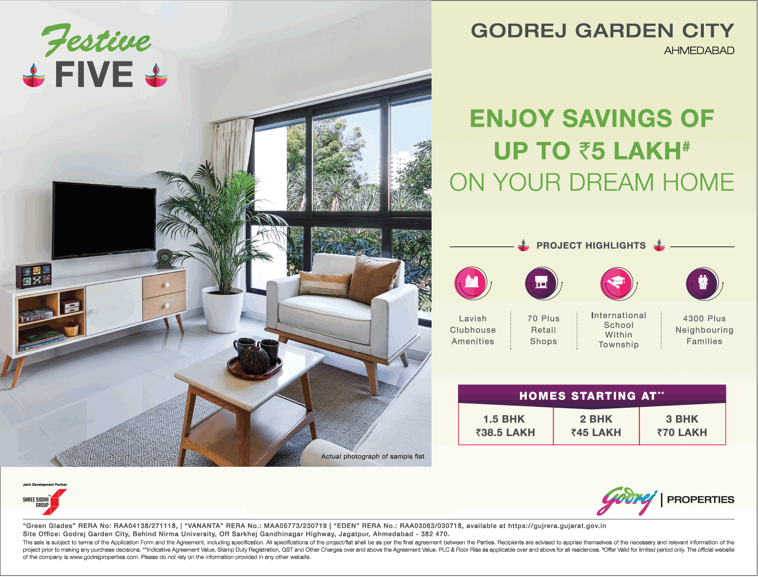 Enjoy savings of up to Rs 5 Lakh on your dream home at Godrej Garden City Ahmedabad