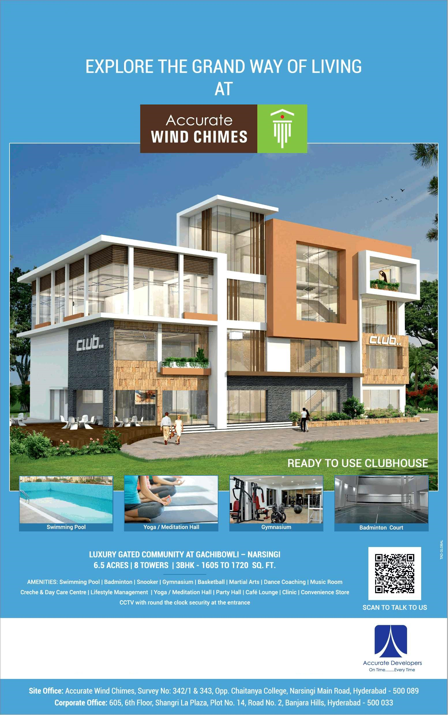 Avail luxury gated community at Accurate Wind Chimes in Gachibowli Hyderabad