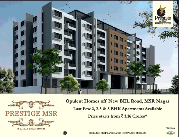 Last few 2 2 5 and 3 BHK apartments available at Prestige MSR Bangalore