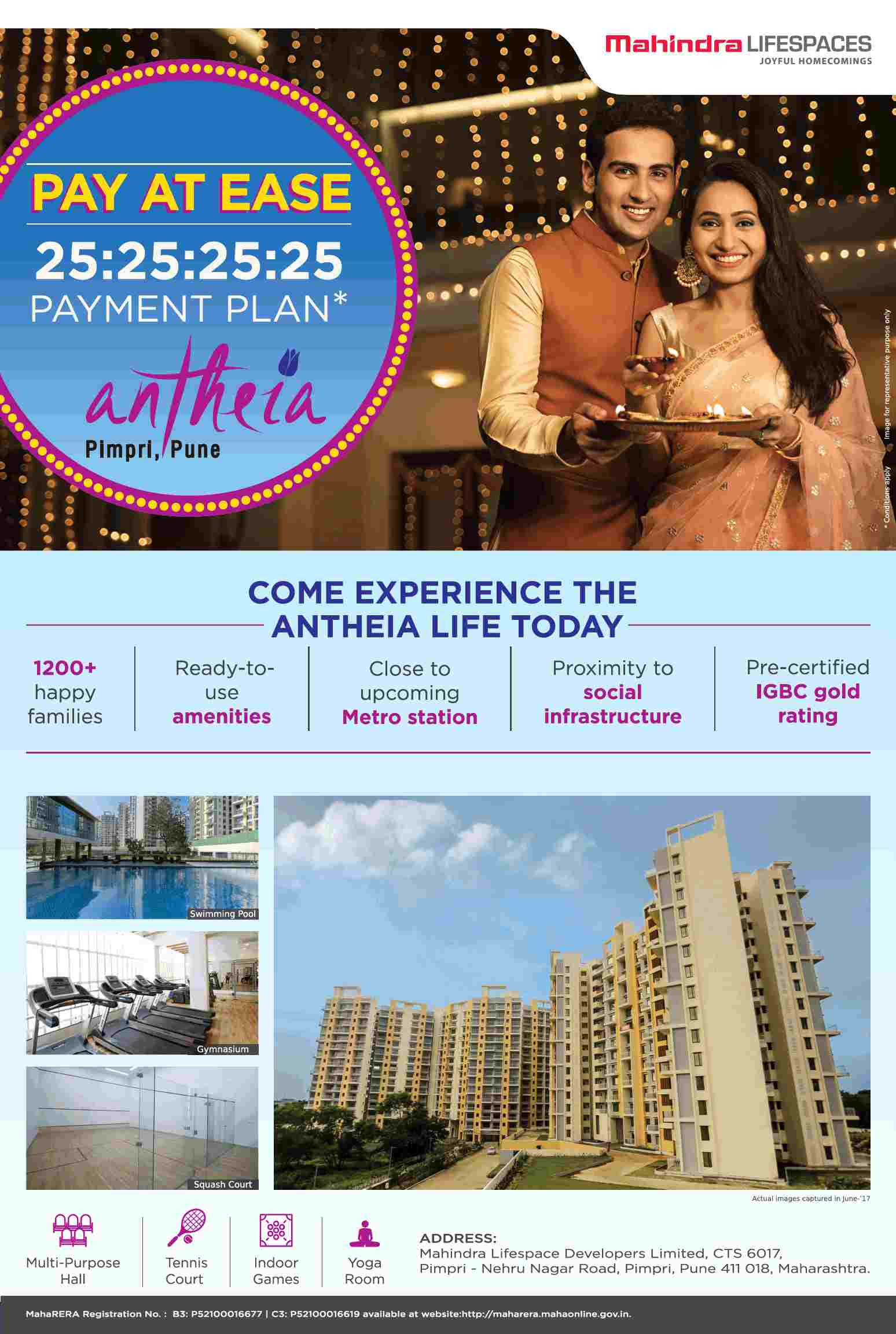Avail the 25 25 25 25 payment plan at Mahindra Antheia in Pimpri Pune