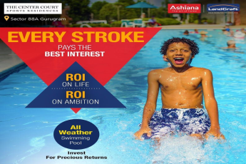Enjoy-all-weather-swimming-pool-by-residing-at-Ashiana-Landcraft-The-Center-Court-in-Gurgaon
