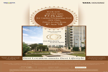 Book now and save up to Rs 7.75 Lac for garden/swimming pool view flats at Tata Gurgaon Gateway, Gurgaon