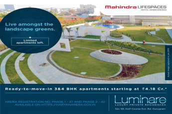 Live amongst the landscape greens at Mahindra Luminare, Gurgaon