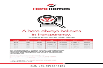 No surprise pricing and hidden charges at Hero Homes Gurugram
