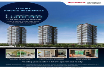 Reside in luxurious 3 & 4 BHk apartments and penthouses at Mahindra Luminare in Gurgaon