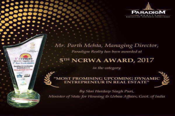 Mr. Parth Mehta awarded at 5th NCRWA Award, 2017 for Most Promising Upcoming Dynamic Entrepreneur in Real Estate