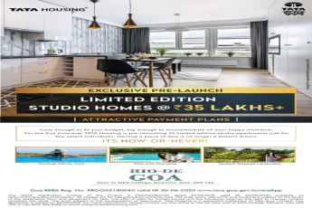 Exclusive Pre-Launch of 23 Limited Edition Studio Homes @ 35 Lacs in Tata Rio De Goa