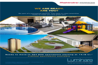 Book ready to move in 3 and 4 BHK apartments starting at Rs 4.18 Cr at Mahindra Luminare, Gurgaon