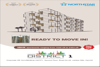 Ready to move in 3 BHK apartments at Northstar District 1, Hyderabad