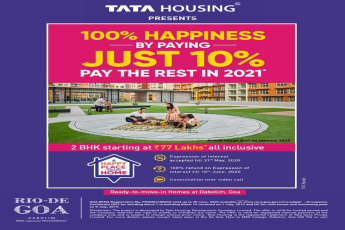 Pay just 10% now and the rest in 2021 at Tata Rio De Goa in Dabolim, Goa