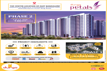 Phase 2 newly launched 2 and 2.5 BHK Rs 85 Lacs at Durga Petals Bangalore