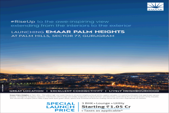 Special launch 3 bhk @ Rs 1.05 Cr. at Emaar Palm Heights in Gurgaon