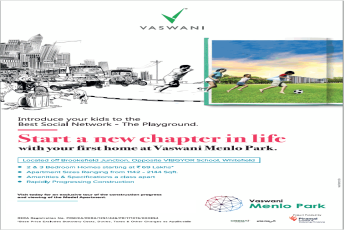 Book 2 and 3  BHK homes starting Rs 69 lac at Vaswani Menlo Park in Bangalore