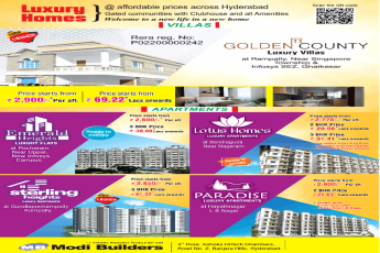 Presenting luxury home at  affordable prices across Hyderabad