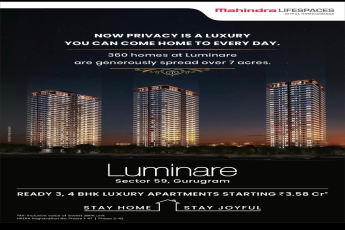 360 homes at Mahindra Luminare in Gurgaon are generously spread over 7 acres