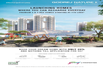 Pay only 20% & nothing till application for OC at Godrej Nature Plus in Sohna, Gurgaon