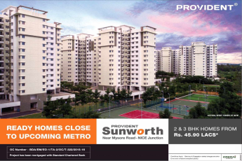 Book 2 & 3 BHK homes at Rs.45.90 lakhs at Provident Sunworth in  Bangalore