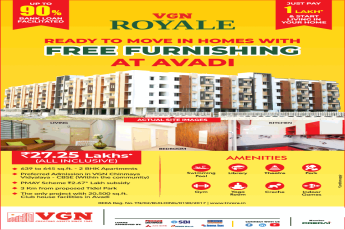 Just pay 1 lakh and start living in your home at VGN Royale in Avadi, Chennai