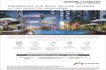 Book 2, 3 and 4 BHK premium homes starting at Rs 1 Cr at Godrej Habitat, Gurgaon