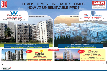 Ready to move in luxury homes now at unbelievable price by DSR Infrastructure, Bangalore