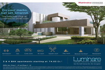 The exquisite Club is unveiling soon at Mahindra Luminare in Gurgaon