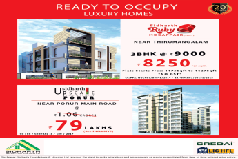 Ready to occupy luxury homes at Sidharth Upscale in Chennai