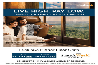 Exclusive higher floor units at Sunteck West World in Mumbai
