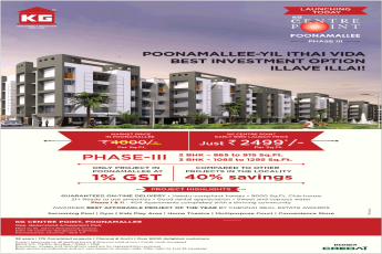 KG Centre Point early bird launch price just Rs 2499 per sqft in Chennai