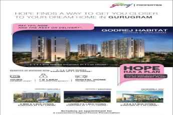 Pay 10% now and the rest on delivery at Godrej Habitat in Gurgaon