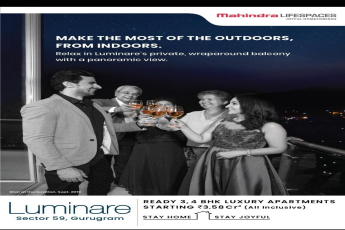 Relax in private, wraparound balcony with a panoramic view at Mahindra Luminare, Gurgaon
