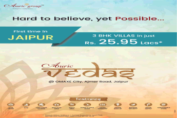 3 BHK Villas for just Rs. 25.95 lacs is hard to believe but yet possible at Auric Vedas in Jaipur
