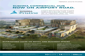 Guaranteed lease on retail and business spaces at Sushma Pristine in Airport Road, Zirakpur