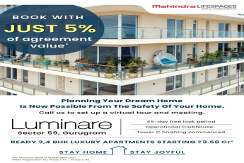 Book with just 5 of agreement value at Mahindra Luminare Sector 59 Gurugaon