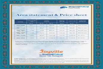 Shapoorji Pallonji Joyville price sheet & area statement in Sector 102, Gurgaon